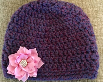 Warm Fitted Girls Beanie with Pink Flower