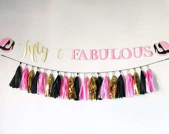 Pink, Gold, and Black, White Fifty and Fabulous Birthday Banner and Tassel Garland | Fiftieth Birthday | 60th Birthday | Birthday Banner