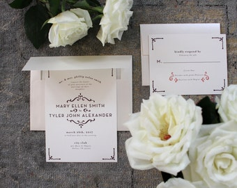 PRINTABLE Wedding Invitation Suite | Timeless Love in Coral & Plum