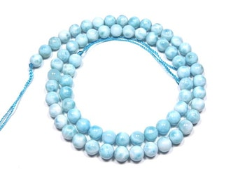 """100% Genuine Natural AAA Dominican Larimar 6mm Round Smooth Beads 15-3/4"""" long. You receive actual item in the Picture."""