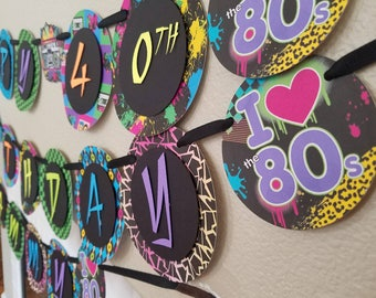 80s birthday banner etsy for 80 party decoration ideas