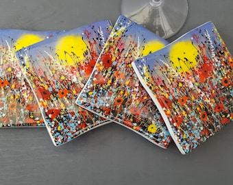 Unique Ceramic Coaster. 'When The Sun Shines' Art Print Coaster from my Original Painting. Home Decor, Tableware.