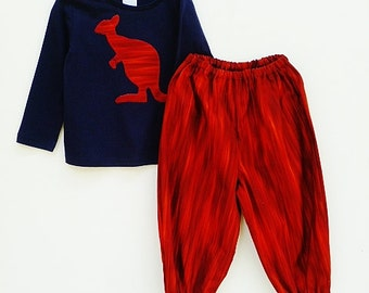 "Outback clothing for boys, Kangaroo clothes, Clothing for boys, size  1T, ""READY TO SHIP"""
