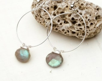 Sterling silver Labradorite hoop earrings