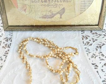 Unusual Twisted Triple Pearl and Gold Chain Signed Napier Vintage Necklace-All Orders Only 99c Shipping!d