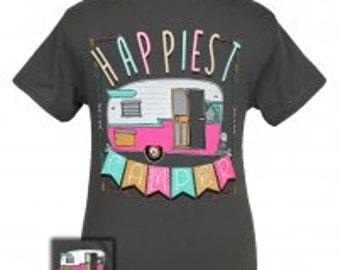 Girlie Girl Happiest Camper tee shirt NEW