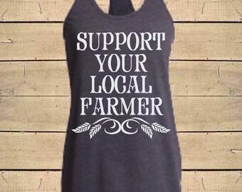 Country Shirts, Farmer Shirts, Southern Tanks, Farm Shirts, Local Farmer, Farm Wife Shirts, Womens (Fitted Style) Soft Blend Tank Top