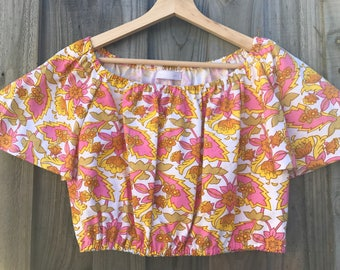 Gypsy bell sleeved crop top / retro fabric /  recycled fabric