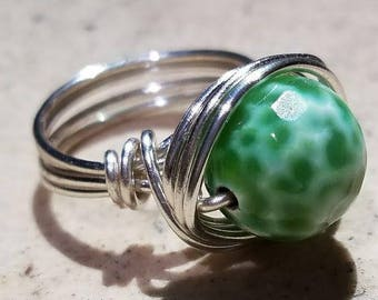 Agate Silver Wire Wrapped Ring