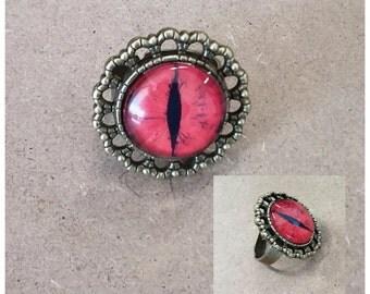 Adjustable Ring - Red Glass Snake Eye on Bronze Base