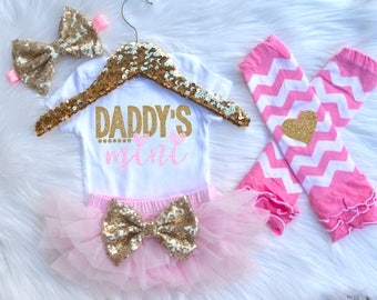 Daddy's Mini Baby Girl Outfit With Optional Headband, Leg Warmers and Bloomer. Father's Day Outfit. Coming Home Outfit. Take Home Outfit.