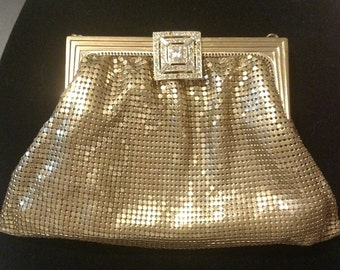 Antique Evening Bag - Whiting and Davis - Made in U.S.A  Gold Mesh Purse