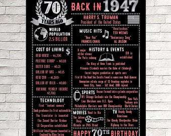 70th Birthday Chalkboard 1947 Poster 70 Years Ago in 1947 Born in 1947 70th Birthday Gift 1947 Birthday Poster, Personalized 70th Birthday
