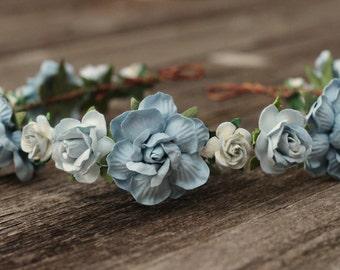 Rose Dusty Light Blue Floral Hair Vine Bridal Headpiece Crown Hair Halo Rose Crown Boho Wedding Flower Crown Boho Wedding Bridal Hair Wreath