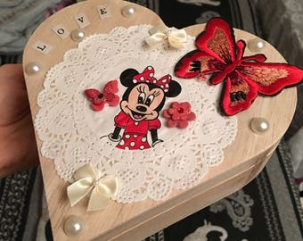 Handmade Minnie Mouse Disney heart shaped wooden box with red butterfly