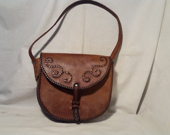 Vintage 1980's Handmade Brown Leather Handbag - Shoulder Bag