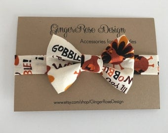 Turkey Bow Tie; Thanksgiving Bow Tie; Fall Bow Tie; Boys Bow Tie; Toddler Bow Tie; Adjustable Bow Tie with Velcro; Baby Bow Tie