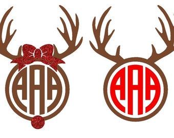 Reindeer Monogram Iron on Heat Transfer