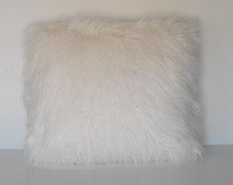 large long mongolian sheepskin faux fur pillow black white ivory grey for sofa handmade