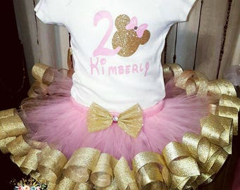 Minnie Inspired Gold and Pink Ribbon Trim Tutu Set || 2nd birthday || available for any birthday || minnie mouse || gold and pink || custom