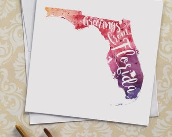 Florida Watercolor Map Greeting Card, Greetings from Florida Hand Lettered Text, Gift or Postcard,Giclée Print, Map Art, Choice of 5 Colors
