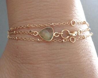 Dainty Gold Wrap Bracelet Green Stone /Green Amethyst Wrap Bracelet/Natural Green Amethyst Gold Bracelet /Geometric Triangle Stone Bracelet