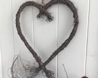 Rustic Country Style Whitewash Wreath Large Heart Twiggy Tails Peony & Sage Fabric Bow Detail