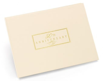 Ivory 50th Anniversary Guest Book/ 50th Anniversary Guest Book/ Gold and Ivory 50th Anniversary Guest Book