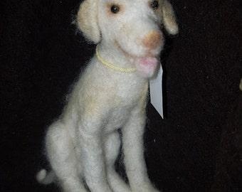 Needle Felted OOAK White Labrador dog