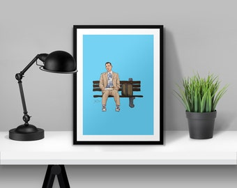 "Tom Hanks ""Forest Gump"" Illustrated Poster Print 