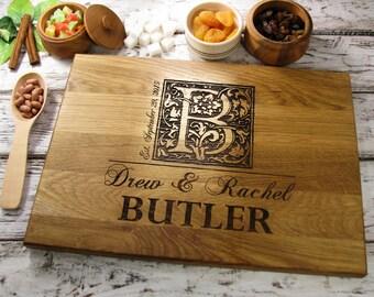 Personalized Wedding Gift Cutting Board, Monogram Wedding Gift, Bridal shower gift, Housewarming Gift, Anniversary Gift, Engagement Gift