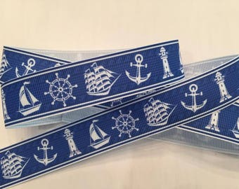 "1Y-33"" Piece Ship and Lighthouse Grosgrain Ribbon 7/8"""