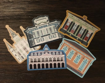 New Orleans Buildings 5-Pack (New Orleans, Louisiana) Vinyl Stickers