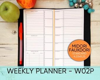 Midori  insert, WEEKLY Planner, Midori Insert Printable, Week at a glance, Midori Weekly, Midori planner, Midori Traveller's, W02P