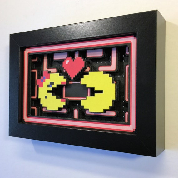"Pac-Man & Ms. Pac-Man in Love 3D Shadow Box 4""x6"" for Valentine's Day"