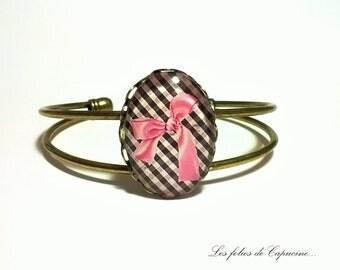 Cabochon Bangle Bracelet. • ROSE • bow