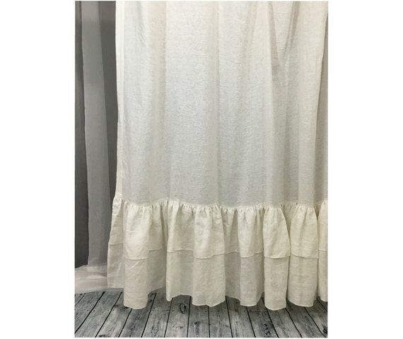 20 Off White Linen Shower Curtain With Double Ruffles