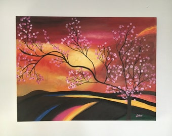 Original Acrylic Painting on Canvas: Sunset flowers (tree)