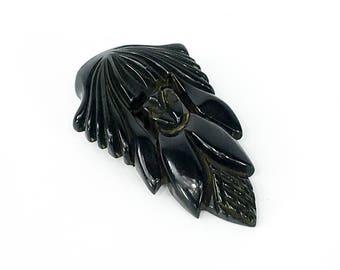 40s Black Carved Bakelite Dress Clip | Bakelite Carved Leaf Clip