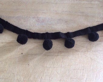 Black Pom Pom Trim 100% cotton