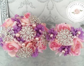 Bridal Brooch Bouquet, Brooch and Roses Bouquet, Roses brooch bouquet, Pink Bridal Brooch Bouquet