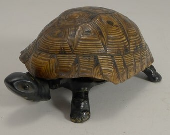 Handsome German Figural Mechanical Desk / Counter Bell - Tortoise