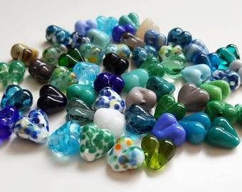 Lampwork Hearts - Heart Beads - Bead Set - Mixed Lot - Lampwork Glass - Glass Beads - Lampwork Beads - Blue - Green - Artisan Beads -UK Made