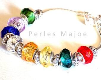 Lot de 8 perles en verre européennes assorties