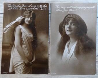2x Antique Woman Girl Portrait Photo Postcard cards