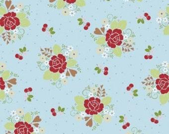 Sew 2 Cherry Main on Aqua - Sold by the Half Yard