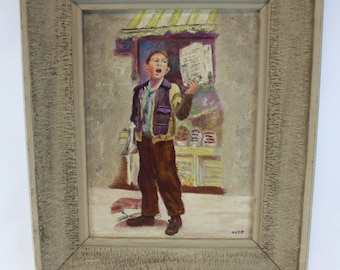 Oil painting on board newspaper boy