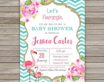 flamingo baby shower invitation flamingo baby shower flower baby shower invitation flamingo invitation