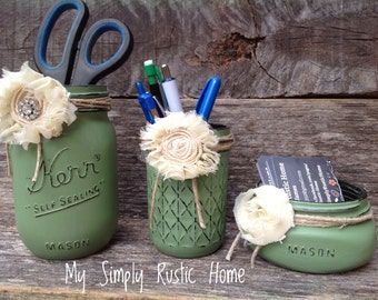 Mason Jar Desk Set-Desk Set-Mason Jar Office-Desk Organizer-Desk Set-Mason Jar Office Set-Office Set-Desk Decor- Desk Set-business card jar