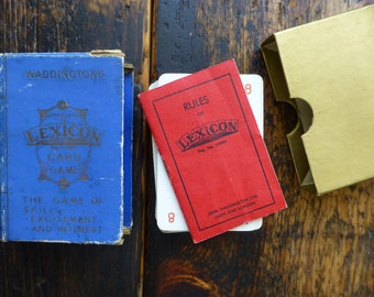 Boxed Waddington's Lexicon Card Game with a Book of Rules C1935